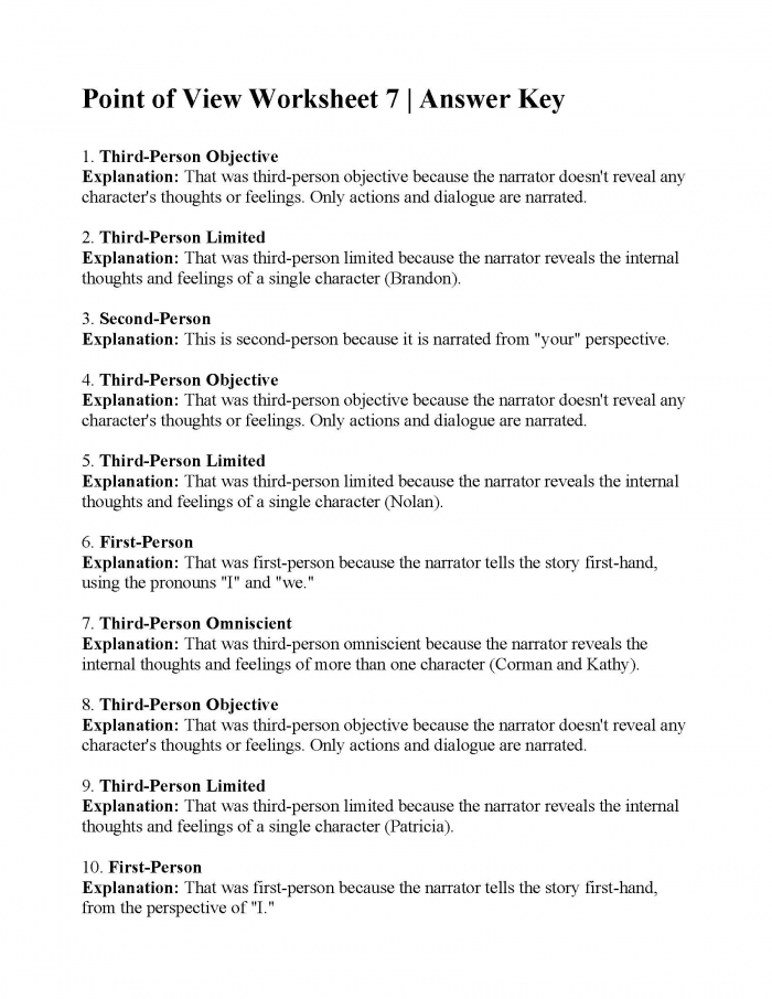 Third Person Point Of View Worksheet