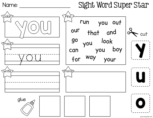 This Is A Worksheet For Learning The Sight Word You Students Will