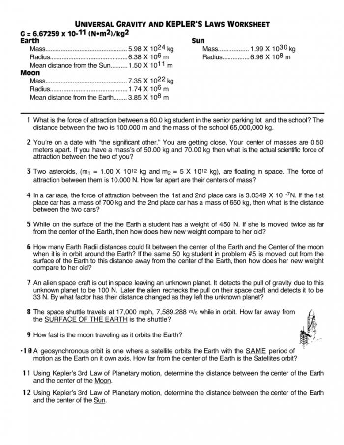 Universal Gravity And Keplers Laws Worksheet
