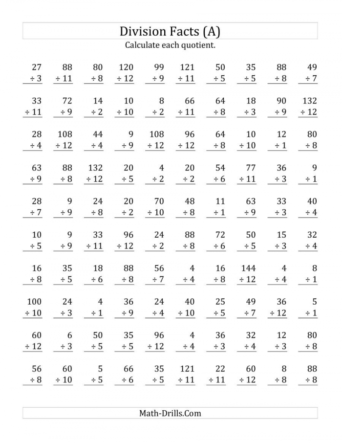 Vertically Arranged Division Facts To  A