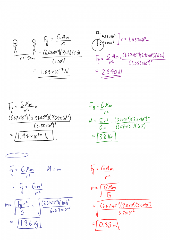 Worksheet  Newtons Law Of Universal Gravitation Two Students