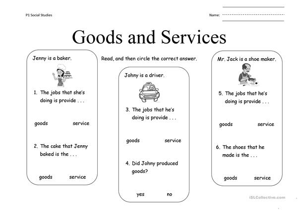 Worksheet Distinguish Goods And Service