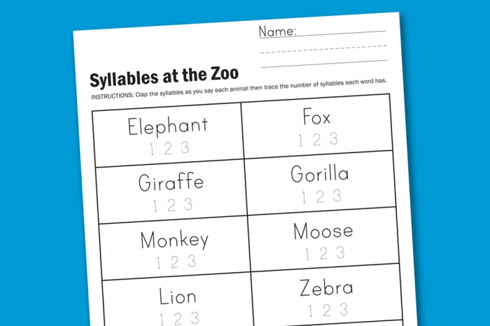 Worksheet Wednesday Zoo Syllables