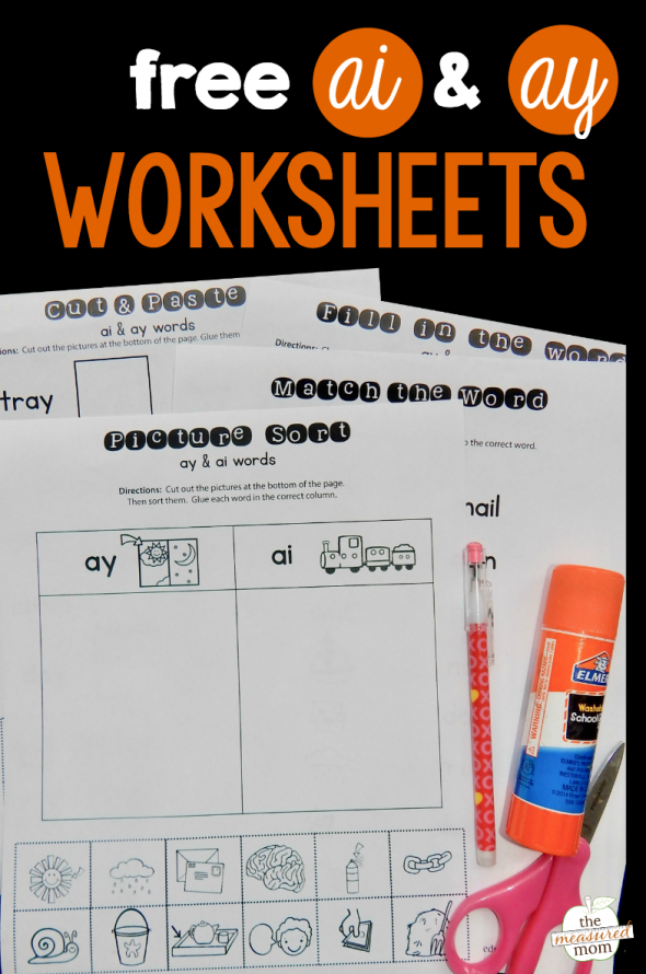 Worksheets For Ai   Ay Words