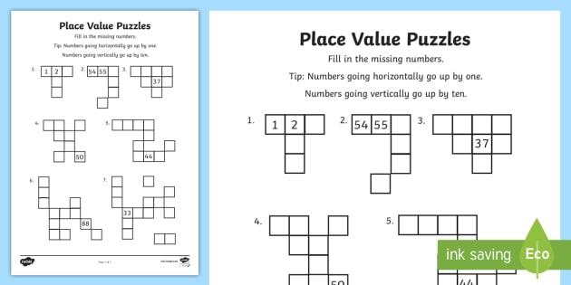 Year  Place Value Puzzles Worksheet  Worksheet