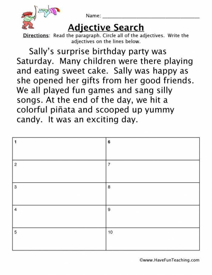 Adjective Birthday Party Worksheet  Have Fun Teaching