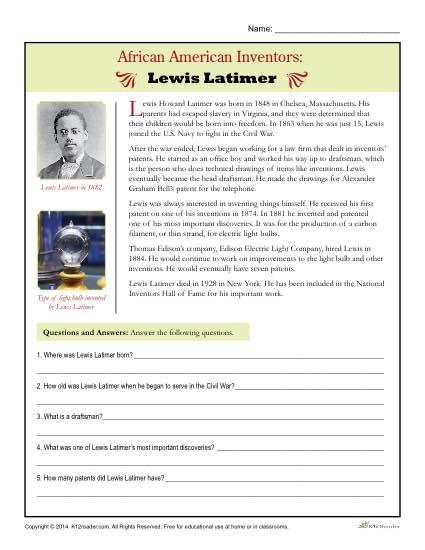 African American Inventors Lewis Latimer