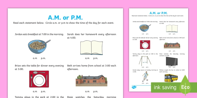 Am Or Pm Time Worksheet Teacher Made And Worksheets For Second
