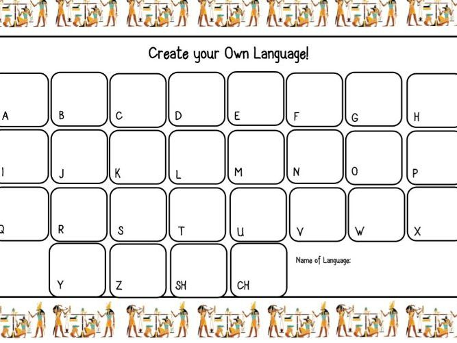 Ancient Egypt Hieroglyphics Worksheet Create Your Own Language