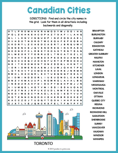 Canadian Cities Word Search