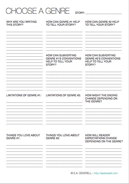 Choose A Genre Writing Worksheet Wednesday