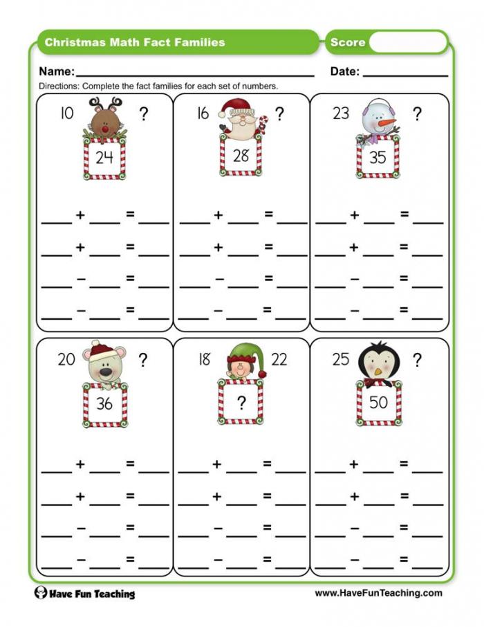 Christmas Math Fact Families Worksheet  Have Fun Teaching