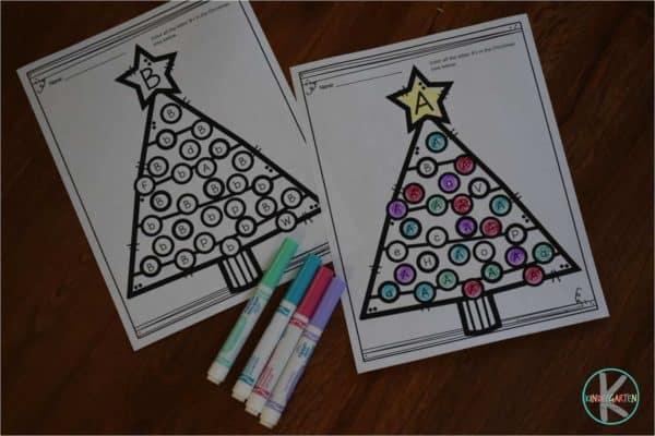 Christmas Tree Letter Find Worksheets