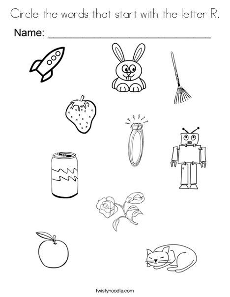 Circle The Words That Start With The Letter R Coloring Page