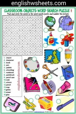 Find And Circle The School Objects