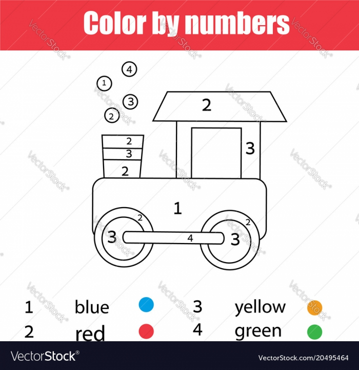 Coloring Page With Toy Train Color By Numbers Vector Image
