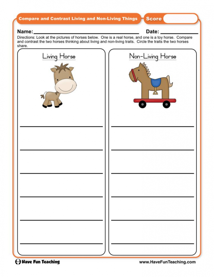 Compare And Contrast Living And Non Living Things Worksheet  Have