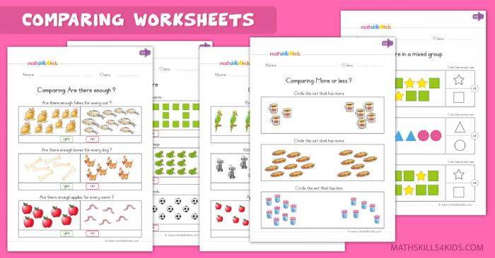 Comparison Worksheets For Kindergarten