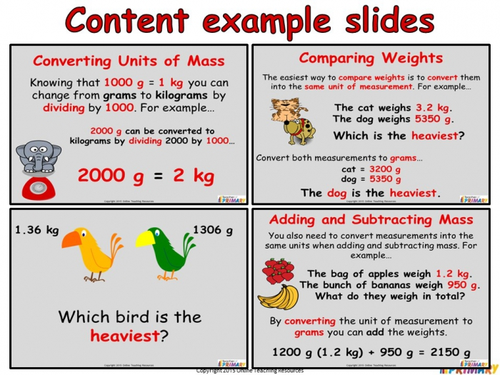 Converting And Comparing Units Of Mass