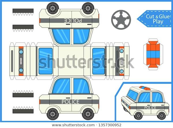 Cut Glue Cartoon Police Car Worksheet Stock Vector Royalty Free