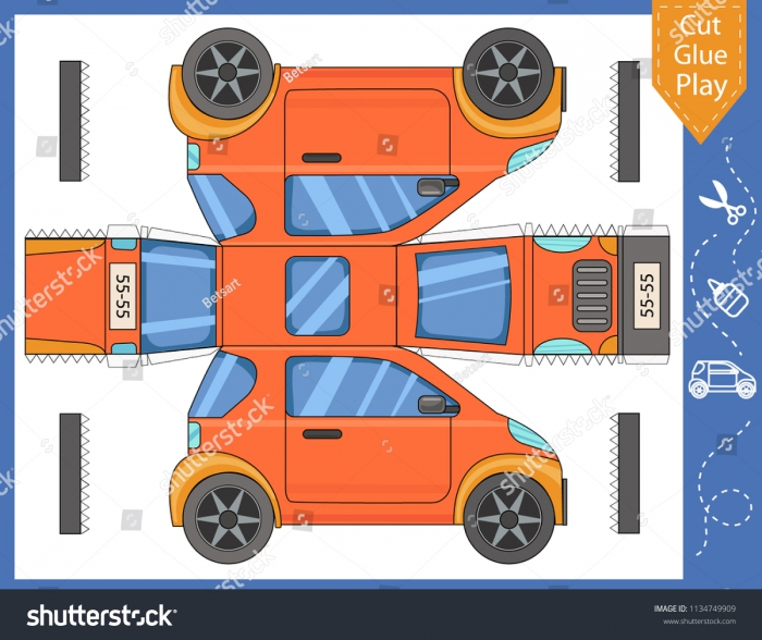 Cut Glue Paper Car Kids Crafts Stock Vector Royalty Free