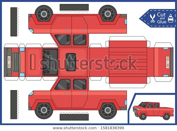 Cut Glue Paper Pickup Car Craft Stock Vector Royalty Free