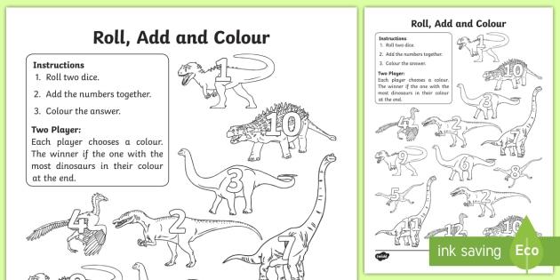 Dinosaur Colour And Roll Worksheet  Worksheet