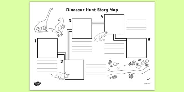 Dinosaur Hunt Story Map Worksheet  Worksheet Teacher Made