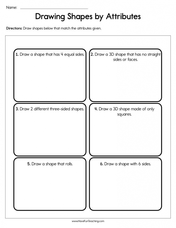 Drawing Shapes By Attributes Worksheet  Have Fun Teaching