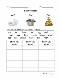 Short Vowel Sounds Worksheet: U