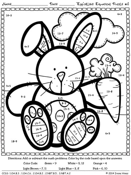 Easter Eggcellent Equations  Math Printables Color By The Code