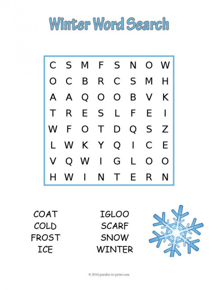 Easy Winter Word Search
