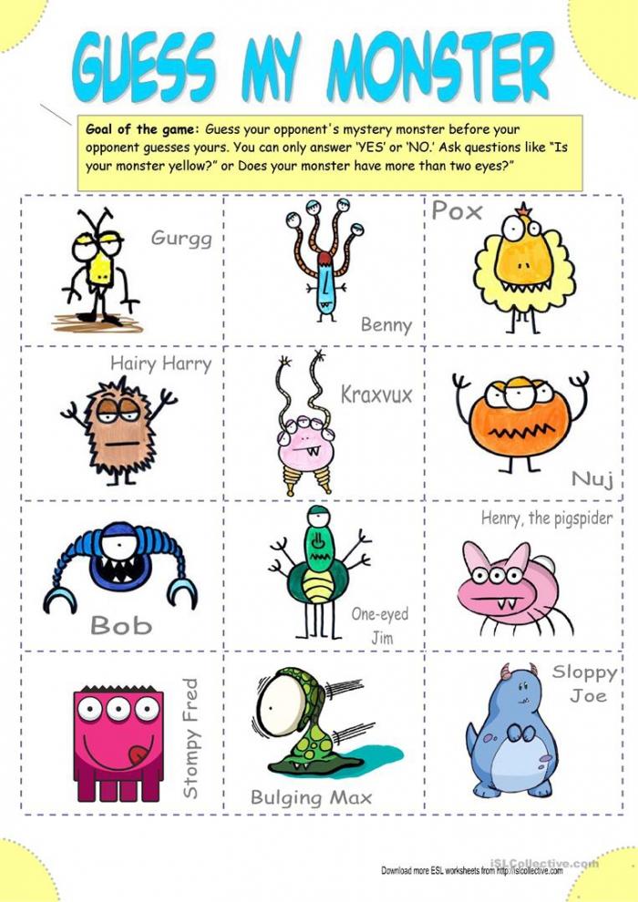 English Esl Monster Worksheets