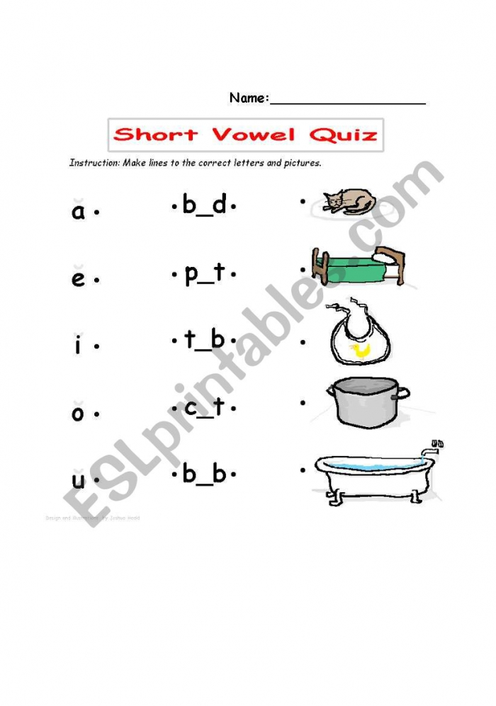 English Worksheets Short Vowel Quiz