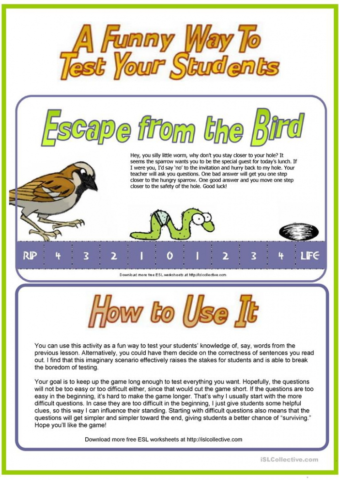 Escape From The Sparrow Fun Way To Test Students