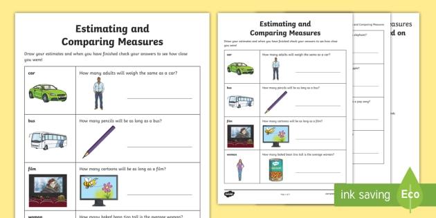 Estimating And Comparing Measures Worksheet  Worksheet