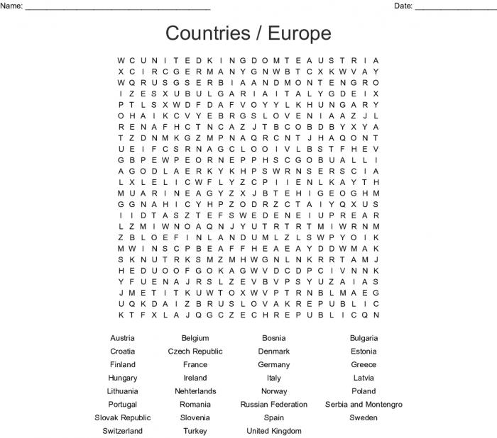European Countries Word Search