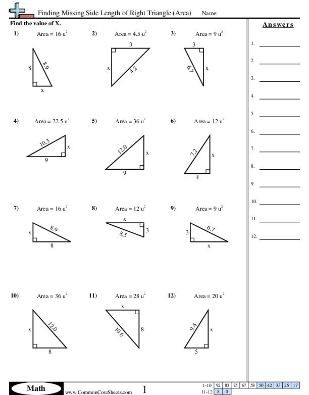 Finding Missing Side Length Of Right Triangle Area Worksheet