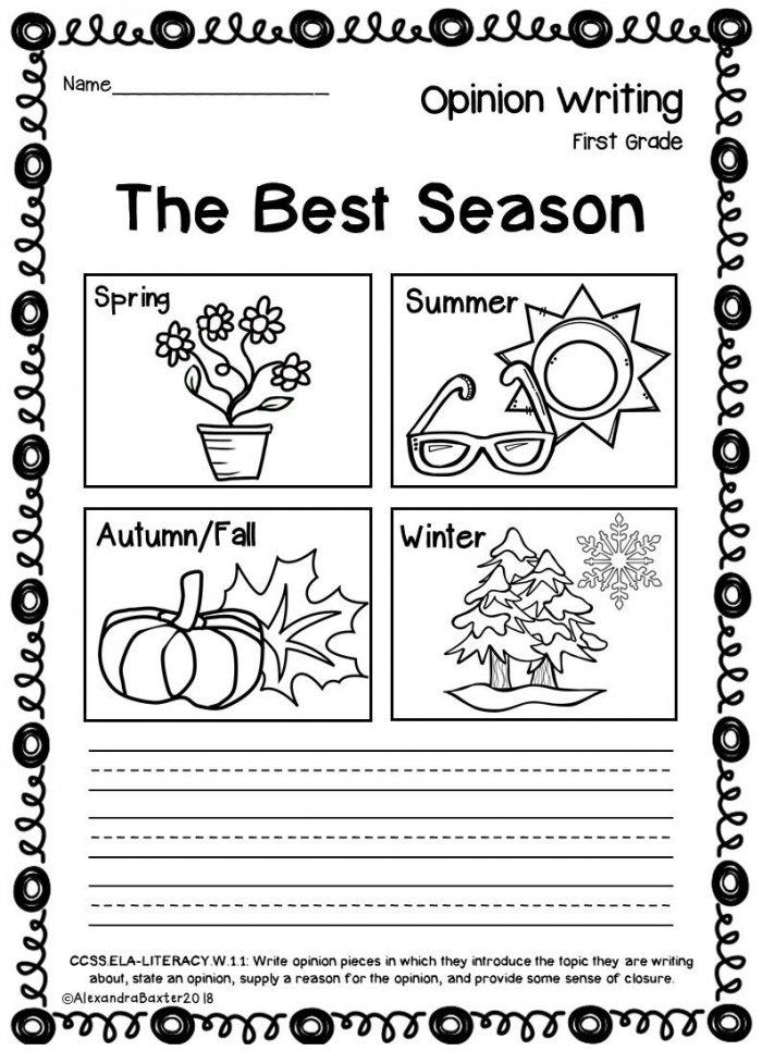 First Grade Opinion Writing Promptsworksheets
