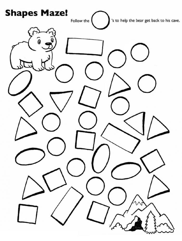 Follow The Circles Bear Shape Maze