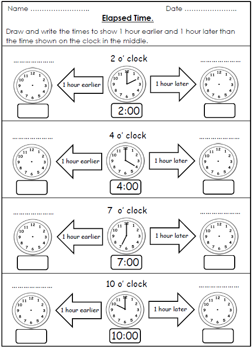 Free Elapsed Time Worksheets  Hour Earlier   Hour Later