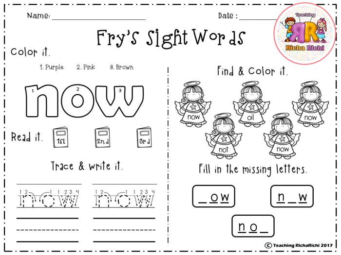 Free Frys Sight Words St