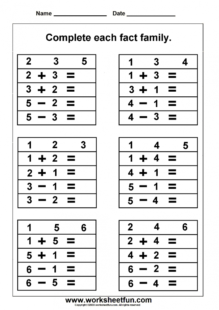 Free Math Work Sheets Great Site Fact Family Worksheets
