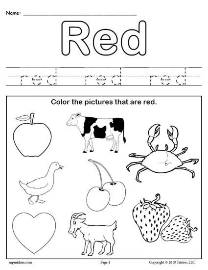Free Printable Color Red Worksheet Color Red Worksheets Like This
