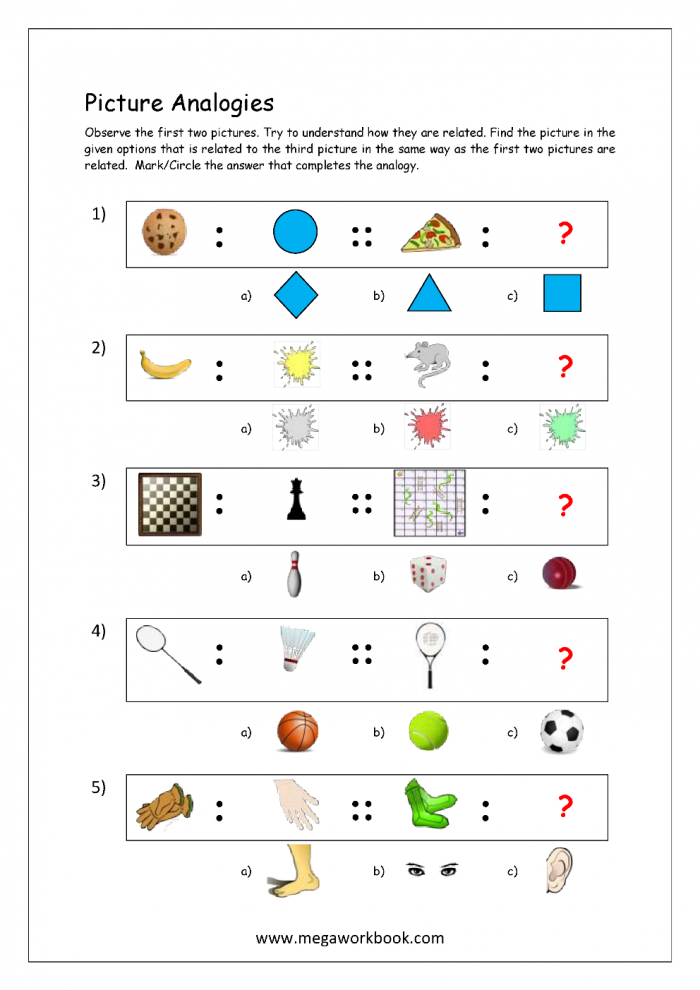 Free Printable Picture Analogy Worksheets