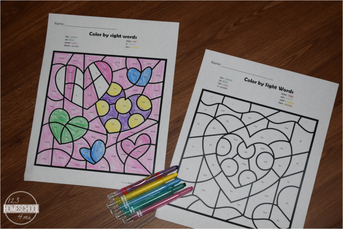 Free Valentines Day Color By Sight Words