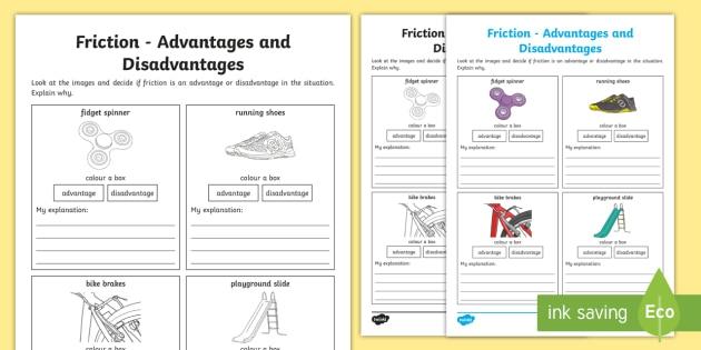 Friction Advantages And Disadvantages Worksheet  Worksheet