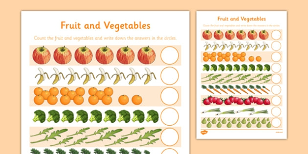 Fruit And Vegetables Counting Sheet Teacher Made
