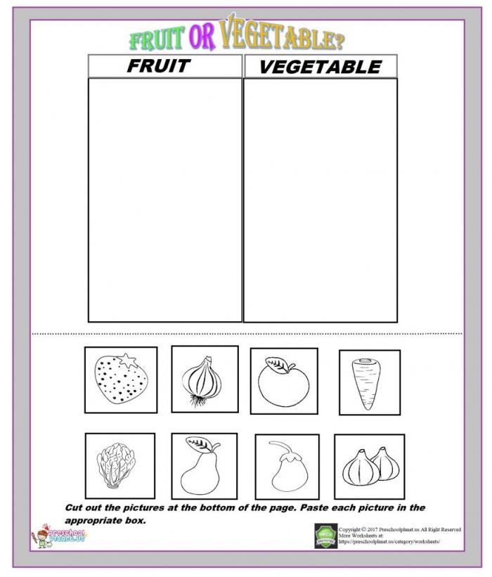 Cut-Out Graph: Vegetables Worksheets 99Worksheets