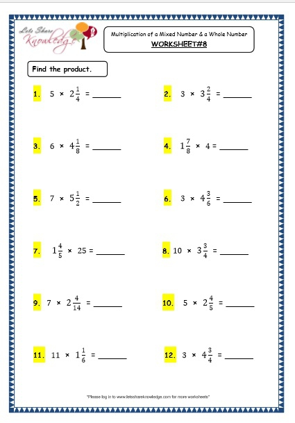 Multiply Mixed Numbers With Whole Numbers Worksheets ...